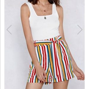 Good Lines Roll Striped Short - Nasty Gal